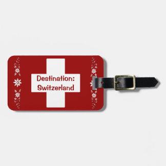 Drapeau et edelweiss suisses étiquettes bagages