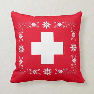 Drapeau et edelweiss suisses oreillers