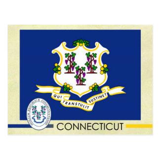 Drapeau et joint d'état du Connecticut Carte Postale