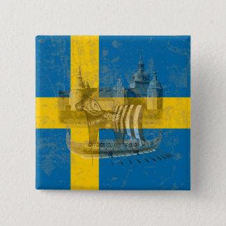 Drapeau et symboles de la Suède ID159 Badge Carré 5 Cm