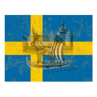 Drapeau et symboles de la Suède ID159 Carte Postale