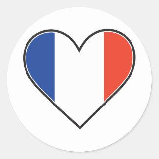 Drapeau français de coeur sticker rond