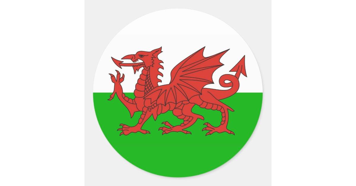 drapeau gallois les anglais de dragon de pays du sticker rond zazzle. Black Bedroom Furniture Sets. Home Design Ideas