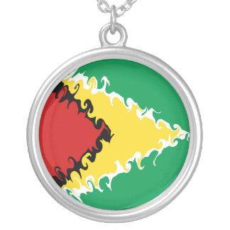Drapeau Gnarly de la Guyane Pendentif Rond