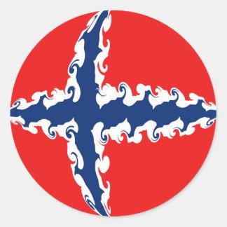 Drapeau Gnarly de la Norvège Adhésifs Ronds