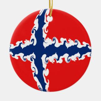 Drapeau Gnarly de la Norvège Ornement Rond En Céramique