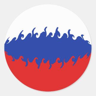 Drapeau Gnarly de la Russie Adhésifs Ronds