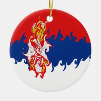 Drapeau Gnarly de la Serbie Ornement Rond En Céramique