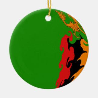 Drapeau Gnarly de la Zambie Ornement Rond En Céramique