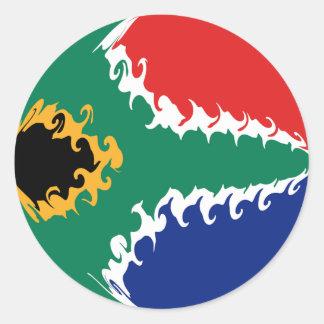 Drapeau Gnarly de l'Afrique du Sud Autocollant Rond