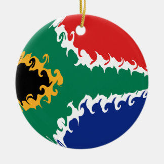 Drapeau Gnarly de l'Afrique du Sud Ornement Rond En Céramique