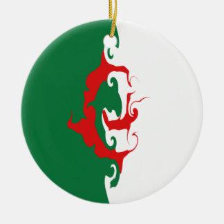 Drapeau Gnarly de l'Algérie Ornement Rond En Céramique