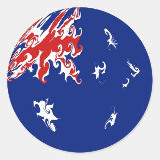 Drapeau Gnarly de l'Australie Autocollants Ronds