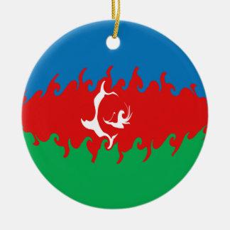 Drapeau Gnarly de l'Azerbaïdjan Ornement Rond En Céramique