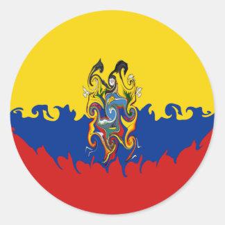 Drapeau Gnarly de l'Equateur Adhésifs Ronds