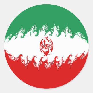 Drapeau Gnarly de l'Iran Adhésif Rond