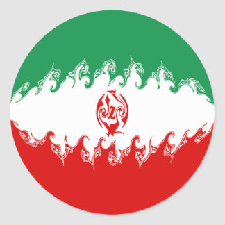 Drapeau Gnarly de l'Iran Sticker Rond
