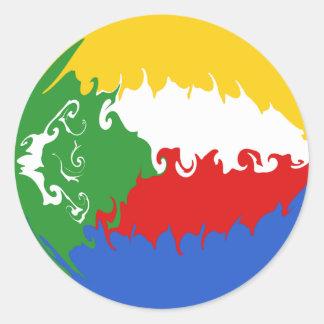 Drapeau Gnarly des Comores Adhésif Rond
