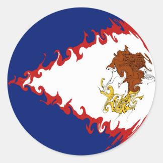 Drapeau Gnarly des Samoa américaines Autocollant Rond