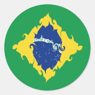 Drapeau Gnarly du Brésil Adhésifs Ronds