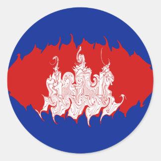 Drapeau Gnarly du Cambodge Autocollants Ronds