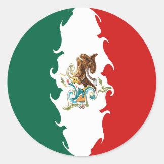 Drapeau Gnarly du Mexique Autocollants Ronds