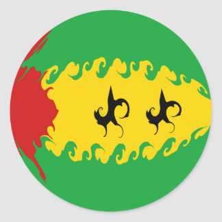 Drapeau Gnarly du Sao-Tomé-et-Principe Autocollants Ronds