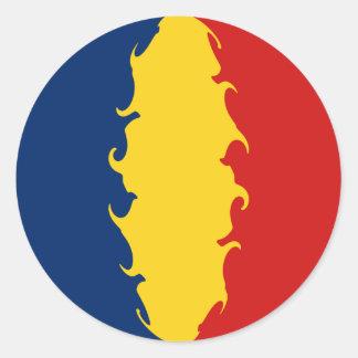 Drapeau Gnarly du Tchad Adhésif Rond
