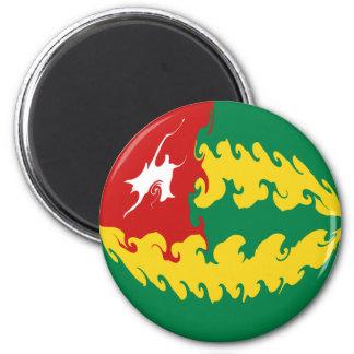Drapeau Gnarly du Togo Magnet Rond 8 Cm