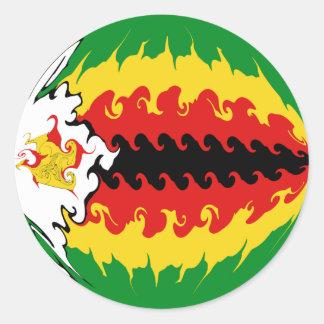 Drapeau Gnarly du Zimbabwe Autocollant Rond