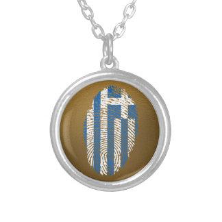 Drapeau grec d'empreinte digitale de contact collier