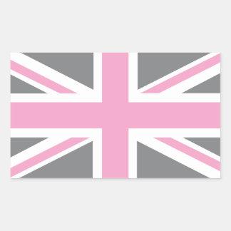 Drapeau gris rose d'Union Jack les Anglais (R-U) Sticker Rectangulaire