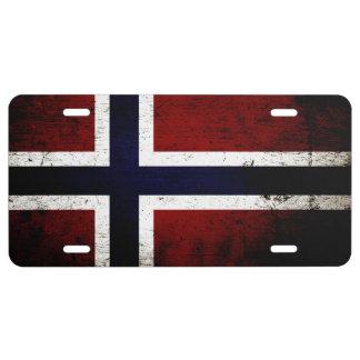 Drapeau grunge noir 1 de la Norvège