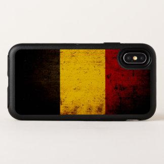 Drapeau grunge noir de la Belgique