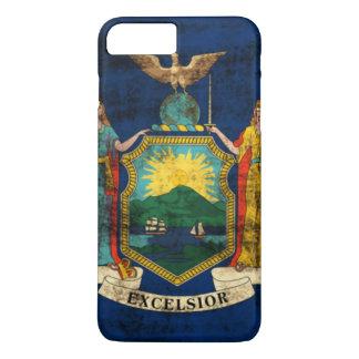 Drapeau grunge vintage d'état de New York Coque iPhone 8 Plus/7 Plus