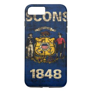 Drapeau grunge vintage d'état du Wisconsin Coque iPhone 8 Plus/7 Plus