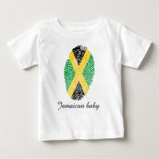 Drapeau jamaïcain d'empreinte digitale de contact t-shirt pour bébé