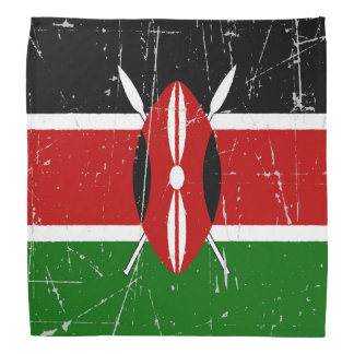 Drapeau kenyan éraillé et rayé bandana