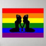 Drapeau lesbien grec de fierté affiches