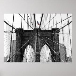 Drapeau noir et blanc du pont de Brooklyn w/Color