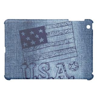 Drapeau patriotique des Etats-Unis dans le bleu de Coque Pour iPad Mini