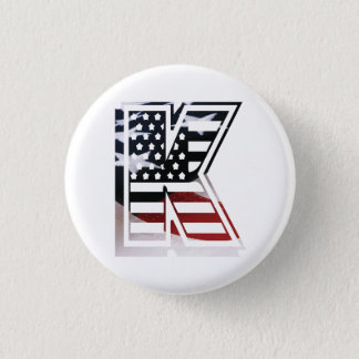 Drapeau patriotique des Etats-Unis d'initiale de Badge Rond 2,50 Cm