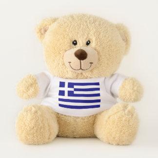 Drapeau patriotique d'ours de nounours de la Grèce