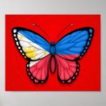 Drapeau philippin de papillon sur le rouge affiche
