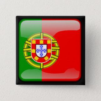 Drapeau poli portugais badge carré 5 cm