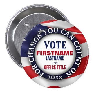 Drapeau politique fait sur commande des Etats-Unis Badge Rond 7,6 Cm