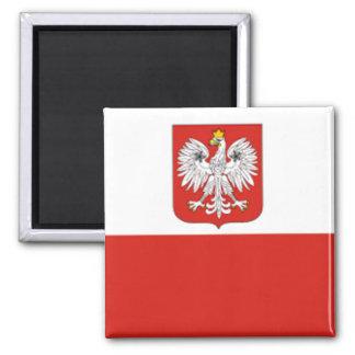 Drapeau polonais magnet carré