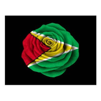Drapeau rose de la Guyane sur le noir Carte Postale