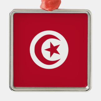 Drapeau tunisien ornement carré argenté