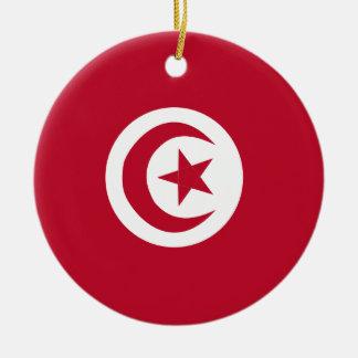 Drapeau tunisien ornement rond en céramique
